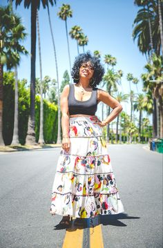 How to wear a crop top, easy spring outfit idea, easy summer outfit idea, how to wear natural hair, maci skirt, how to wear a blavk crop top, sweeneestyle, indianapolis fashion blog, LA Style, palm trees, la palm tree pics Palm Tree Pics, Palm Trees, Simple Summer Outfits, Spring Outfits, Natural Hair Styles, High Waisted Skirt, Cute Outfits, Fashion Outfits, Crop Tops