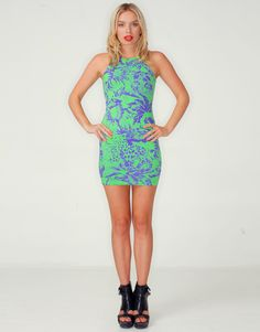 Buy Motel New Zoe Bodycon Dress In Lime and Purple Tiger Life Print at Motel Rocks