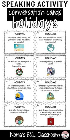 Get your teen students talking about holidays with these 12 different conversation starters. Use the cards in Esl Lessons, English Lessons, French Lessons, Spanish Lessons, English Teaching Materials, Teaching English, Teaching Spanish, Conversation Topics, Conversation Starters