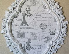 FRENCH SCRIPT fabric WITH COLOR | FRAMED BULLETIN BOARD-Shabby Chic F rames-French Script Fabric-'2 in 1 ...