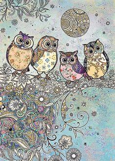 bug art Four Owls greeting card Art Fantaisiste, Owl Artwork, Bug Art, Owl Pictures, Illustration Art, Illustrations, Beautiful Owl, Beautiful Things, Cute Owl