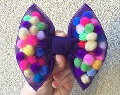 GIRL Funky Fun HAIR BOWsLil' Bow PeepPom Pom by QueenDelicious