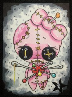 ON SALE Sugar Fueled Voodoo Doll Pink Girl Pop Surrealism Lowbrow creepy cute big eyes eye ACEO mini print Voodoo Doll Tattoo, Voodoo Dolls, Art Sinistre, Doll Drawing, Drawing Faces, Drawing Tips, Art Mignon, Kunst Tattoos, Arte Obscura