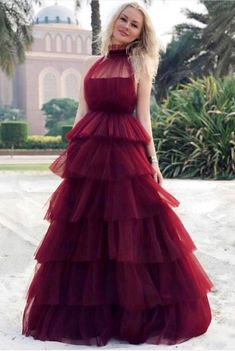 Cheap Suitable Prom Dress Long Chic A-line High Neck Burgundy Prom Dresses Tulle Long Prom Dress Evening Dress Affordable Prom Dresses, Elegant Prom Dresses, Sweet 16 Dresses, Cheap Prom Dresses, Girls Dresses, Flower Girl Dresses, Long Dresses, Party Dresses, Backless Dresses