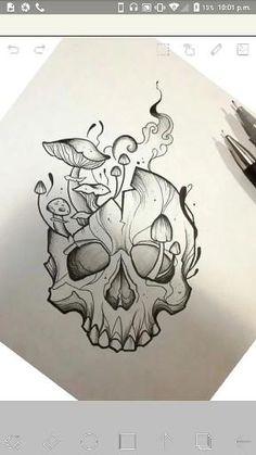 Cool Skull Drawings, Skull Sketch, Art Drawings Sketches Simple, Unique Drawings, Dark Art Drawings, Ink Pen Drawings, Mushroom Drawing, Mushroom Art, Tattoos Skull