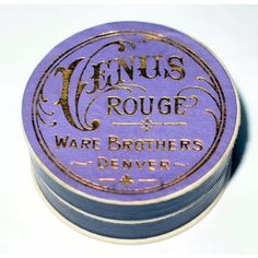 Antique Purple VENUS Rouge UNUSED Makeup 1900s Art Nouveau Powder Box Tin RARE Small Vintage Vanity Beauty Collectible Powder Collector Gift featuring polyvore beauty products
