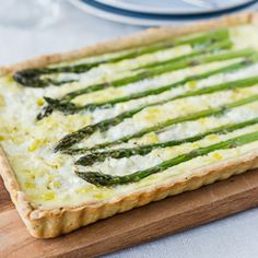Buttermilk Asparagus Quiche: Embrace spring in this light quiche that won't leave you with the haunting guilt of heavy cream.
