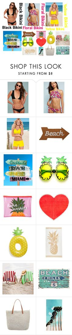 """""""Beach 🌴🌊"""" by emilyg-5 ❤ liked on Polyvore featuring Frankie's Bikinis, ALLiHOP, Venus, Mud Pie, Sunnylife, ban.do, BigMouth, Seafolly and PBteen"""