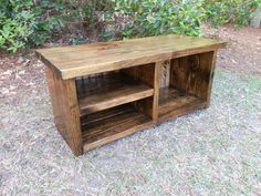 Rustic Decor Wood Bench With Shoe Rack and Boot Cubby stained in Dark Walnut with a bead board back!