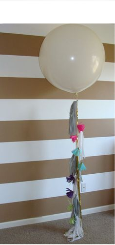 Balloon Tassel Garland- not enough colour in this photo. Pink or mint balloon please?!