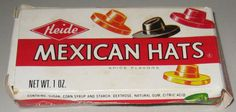 Vintage Heide MEXICAN HATS spice candy box 1960s-1970s paper