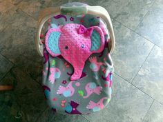 SUPER CUTE !!! Appliqued Girls Pink Elephant Infant Baby Carrier Cover Two Layers Fleece Girls Elephants Carseat Gray Pink Purple Minky by lindasnd on Etsy
