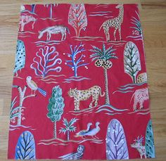 "Designer Exotic Zoo Multi colored Toile - Red - 26"" X 33"" Pillow Square,Pillow Square,Designer Fabrics, High End Fabric PIllow Squares"