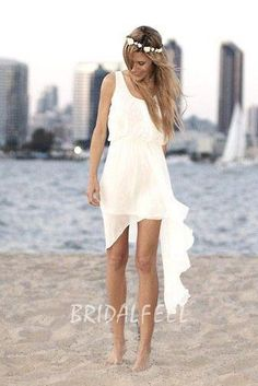 sleeveless scoop neck summer high-low chiffon beach wedding dress Coupon code: LoveFeel. 10% discount on any order. Expiry date: UNLIMITED