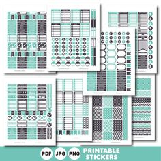 Turquoise printable monthly and weekly planner stickers kit, STI-459