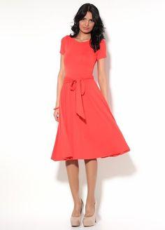 Red coral Knee Length Dress,Flared Skirt Summer Dress with Belt.