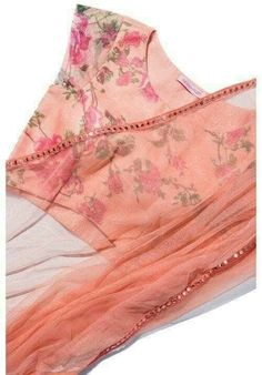 Peach net Saree can be made in georgette with floral peach blouse To purchase… Chiffon Saree, Saree Dress, Georgette Sarees, Anarkali Lehenga, Lehenga Blouse, Dress Skirt, Saree Blouse Patterns, Saree Blouse Designs, Indian Dresses