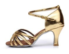 New Women Latin Dance Shoes Heel Hight 7cm Cow Leather Gold  Color 301F Rumba Samba Cowboy Bull Brand Shoes