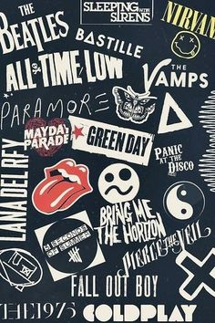 Green Day, Rolling Stones, Mayday Parade, Nirvana, The Beatles and Coldplay! Bvb Wallpaper, Tumblr Iphone Wallpaper, Paramore Wallpaper, Cellphone Wallpaper, Pierce The Veil Wallpaper, Iphone Wallpapers, Iphone Wallpaper Vintage Hipster, Black And White Wallpaper Iphone, Funky Wallpaper