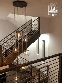 Globe Light Fixture, Pendant Light Fixtures, Globe Chandelier, Stairwell Chandelier, Stairway Lighting, Wood Canopy, Red Oak Wood, Interior Minimalista, Edison Lighting