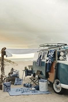 .How I would love to be on a beautiful beach with this vintage VW Van and all the set-up that goes with it..........absolute heaven!!