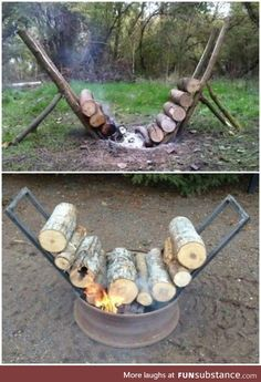 Perfect hack for any backyard bonfire! amazing way to never run out of firewood. Set this up and forget about running out of wood! Backyard diy back yards Self Feeding Fire Lasts 14 Hours Watch The Video