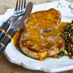 Recipe for Pan-Fried and Roasted Pork Chops with Apricot-Dijon Sauce [from Kalyn's Kitchen] #GlutenFree  #SouthBeachDiet  #LowCarb
