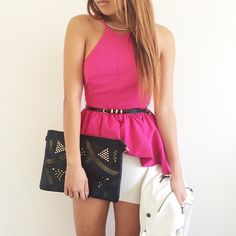 """Go Bold: #fashionblogger @kkarmalove makes a chic impression in a vivid fuschia top, and adds detail to her look with our """"Stunning Studded Black Clutch"""" #perfect 