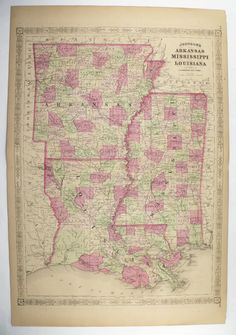 1800s Louisiana Map Mississippi Arkansas Map, Southern State Map, Gulf Coast 1867 Original Johnson Map, Antique Art Gift for Couple available from OldMapsandPrints on Etsy
