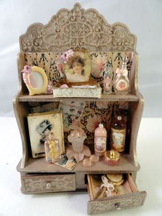 """Decorative ladies shop cabinet (or for a lady's bedroom) by Gloria Kent """"Memories""""."""
