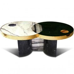 BLack anc White marble top Coffee Table  | www.bocadolobo.com #luxuryfurniture #moderncentertable #coffeetable
