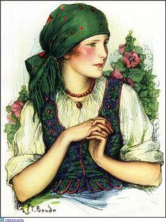Władysław Teodor Benda (Polish, American, 1873-1948) Polish girl in folk dress