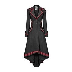 Punk Rave Womens Steampunk Military Coat Jacket Long Black Red Gothic... (53 KWD) ❤ liked on Polyvore featuring outerwear, dresses, jackets, field coat, gothic coat, red coats, long military coat and military coat