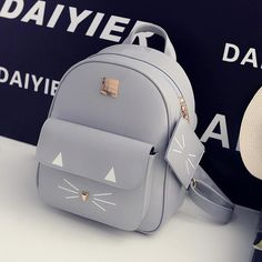 Cheap backpack leather bag, Buy Quality backpack tennis bag directly from China bag tea Suppliers: Womens Cat Backpacks PU Leather Shoulder School Bags Cute Cats Girls Mochilas Students Backpack Korean Preppy Style Teen Pack Cute Mini Backpacks, Stylish Backpacks, Girl Backpacks, Kitty Backpack, Backpack Purse, Shoulder Backpack, Leather Backpack, Shoulder Bag, My Bags