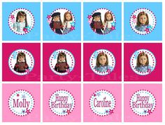 American girl Molly and Emily doll birthday printable cupcake topppers