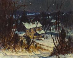 George William Sotter (American, 1879-1953) Bucks County, Riverside Nocturnal Winter Landscape