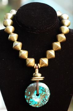 Statement Necklace | Turquoise | Brass | Leather | Pendant | XO Gallery | XO Gallery