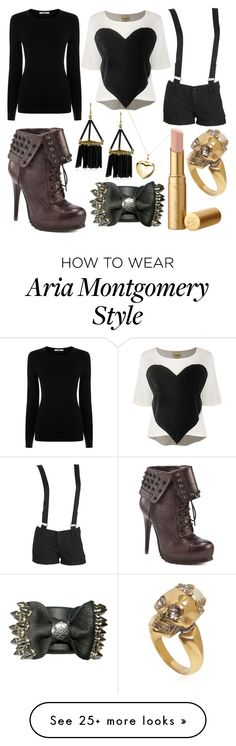 """""""Aria Montgomery"""" by ravenelesig on Polyvore featuring Argento Vivo, Noir, Laugh Cry Repeat, Wet Seal, Oasis, Bronx, Alexander McQueen, PrettyLittleLiars, pll and Aria"""