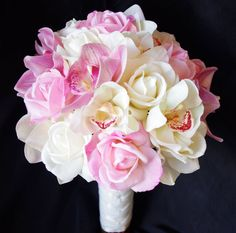 Wedding Pink Natural Touch Silk Roses Bridal Bouquet, Orchids and Roses Silk Wedding Flower