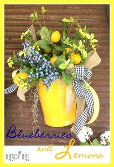 Design Inspiration - Blueberries & Lemons - All About Trendy Tree - Trendy Tree, Lemon Kitchen Decor, Diy Kitchen, Kitchen Storage, Lemon Wreath, Decoration Bedroom, Home Decoration, Room Decor, Seasonal Decor