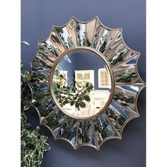 Round Gold Ridged Mirror - 88 cm