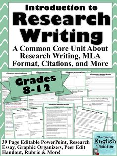 Teach your students about research writing and MLA format with this Introduction to Research Writing Unit.