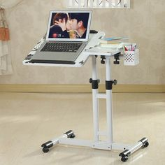 Quality Double lift 360 degree rotation mobile laptop desk laptop desk stand Bedside tables with free worldwide shipping on AliExpress Mobile Diy Computer Desk, Computer Workstation, Best Computer, Laptop Desk, Laptop Stand, Tablet Stand, Laptop Tray Table, Laptop Screen Repair, Small Home Offices