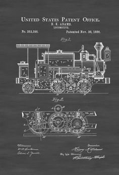 Patent print poster of a Locomotive invented and designed by H. K. Adams. The patent was issued by the United States Patent Office in 1886. Patent prints allow you to have a piece of history in your Home, Office, Man Cave, Geek Den or anywhere you wish to add an interesting touch.  COLORS AND SIZES  Prints are available in many colors and in all popular sizes. You can select your size and color while you order. Larger sizes and additional print are available. If you would like a larger size…