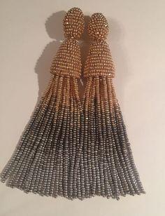 Long Tassel Beaded Earrings clip-on Handmade Oscar de la Renta style   eBay