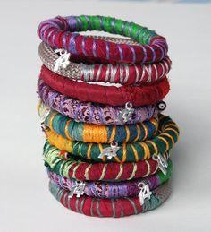 Lucky 2014, new year bangle, ethnic bracelet from silk textile , Christmas gift under 20, burgundy, green  bangle
