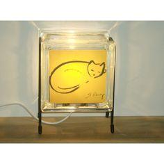 Cat glass block Lamp Upcycled handmade glass block night light FREE... (€43) via Polyvore featuring glowblocks