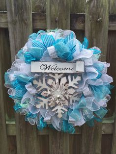 Snowflake Wreath, Welcome Wreath, Snowflake Deco Mesh Wreath, Christmas Wreath, Holiday Wreath by PastNPresentsByAlana on Etsy https://www.etsy.com/listing/210465139/snowflake-wreath-welcome-wreath