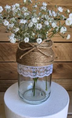 10 x Glass Jars Vintage Vases Wedding Centrepiece Shabby Chic Hessian Lace Twine in Home, Furniture & DIY, Wedding Supplies, Centerpieces & Table Decor | eBay