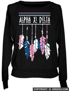 Alpha Xi Delta Boutique Native Feathers Raglan Pullover